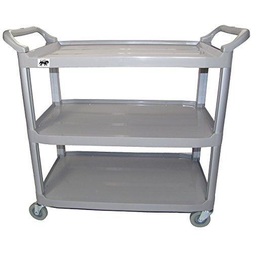 Crayata 3 Shelf Utility Cart, MPC3LG-G Multi-Purpose Rolling Cart with Heavy Duty Plastic Shelves and Oversized Wheels, Large (Gray) (Cart Book 3 Shelf)