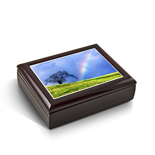 Natures Wonders - A Rainbow Is Born Tile Musical Jewelry Box - Rock of Ages - Christian Version by MusicBoxAttic