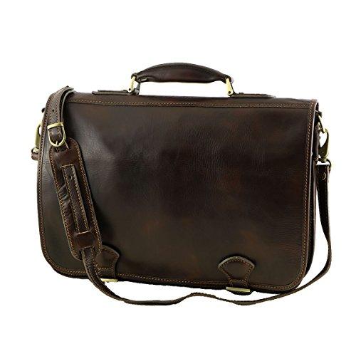 Business Echtleder Aktentaschen - 4026 Dunkelbraun - Echtes Leder Tasche - Mega Tuscany