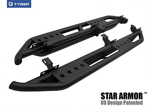 Tyger Auto TG-JA2J2239B Star Armor Kit for 2007-2018 Jeep Wrangler JK 4 Door (Exclude 2018 Wrangler JL Models)   Textured Black   Side Step   Nerf Bars   Running Boards