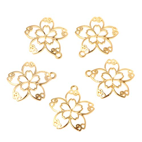 EAPTS 5 Pcs DIY Handmade Pendant Jewelry Frame Mold Cherry Blossom Petals Border Glue UV Resin Epoxy Glue Metal Hollow Borders (Gold) ()