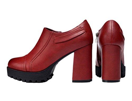 Top Shoes Low High Leather Heel Shoes Zipper Elegant Side Chunky Women Red Fashion nWFwBq0WP