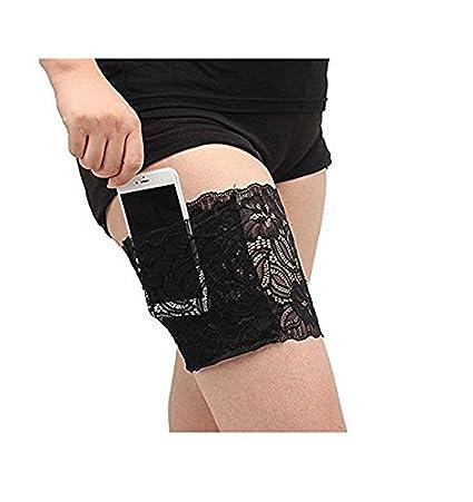 Op.h op. H antisfregamento coscia elastico con pizzo calze coscia calze antiscivolo tasca sulla coscia, Flesh, small