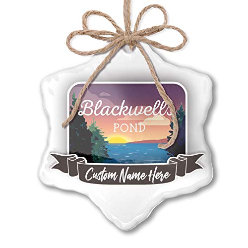 NEONBLOND Create Your Ornament Lake Retro Design Blackwells Pond Personalized (Hanging Blackwell)