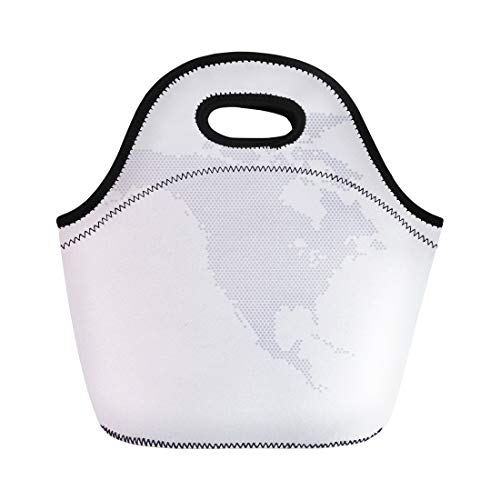 Semtomn Lunch Tote Bag Gray Dot North America Map Hexagon Globe Digital Tech Reusable Neoprene Insulated Thermal Outdoor Picnic Lunchbox for Men Women ()