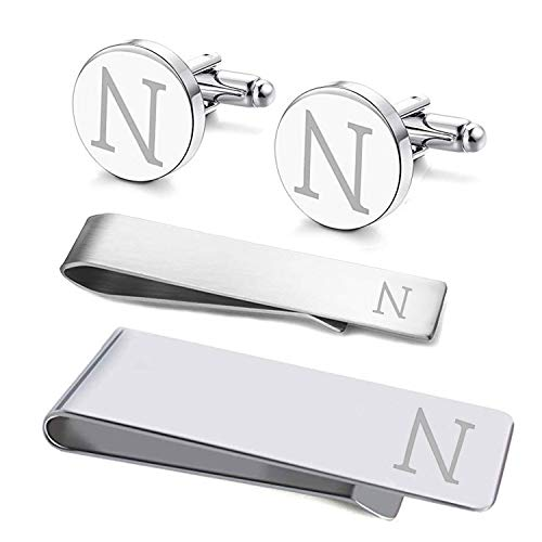 (BodyJ4You 4PC Cufflinks Tie Bar Money Clip Button Shirt Personalized Initials Letter N Gift Set)