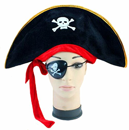 D-Fokes Pirate Skull Captain Costume Cap Halloween Masquerade Party Hat Cosplay accessories Props With Eye Patch (Accessory Halloween Masquerade)