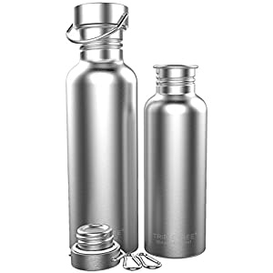 Triple Tree Sports Water Bottle 304 18/8 Stainless Steel Uninsulated Single Walled Construction For Cyclists, Runners, Hikers, Beach Goers, Picnics, Camping - BPA Free. (34 ounces)