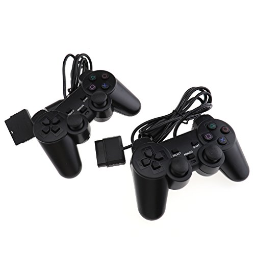 -[ 2x For PS2 PlayStation 2 Wire Cable Controller Dual Shock Gamepad Console Joypad  ]-