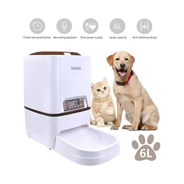 Iseebiz Automatic Cat Feeder 3L Pet Food Dispenser Feeder for Medium and Large Cat Dog——4 Meal, Voice Recorder and Timer Programmable,Portion Control … 1