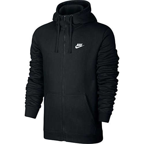 Nike Mens Sportswear Full Zip Club Hooded Sweatshirt 804389-010, Black, Medium