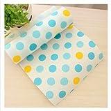 KissH Waterproof Antiskid Heat Insulation Can be cut Polka Dot Multifunction Mats (Placemats,Coasters,Bowls Mats,Drawer Mat) Blue 11.8 X 118.1 Inch