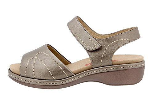 PieSanto Woman Comfort Leather Shoes 1801 Removable Insole Sandal Wide Taupe PoJEweMp
