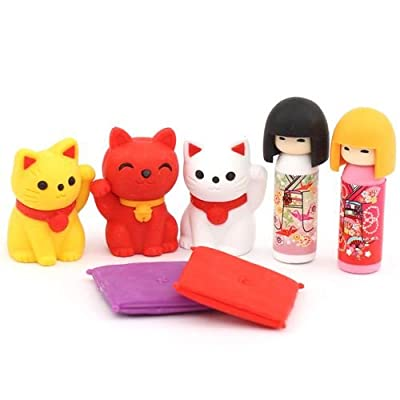 7 gommes caoutchouc poupées Kokeshi & chat porte-chance