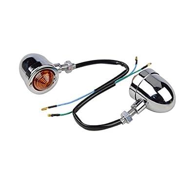 GOOFIT Vintage Refit Headlight Chrome/Amber Bullet Turn Signal Light Lamp for Harley Sportster Softail Bobber Scooter