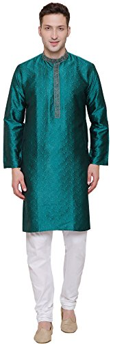 Embroidered Jacquard Silk Mens Kurta Pyjama Indian Clothing (Green, XL)