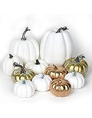 YQing 11 st konstgjorda pumpor set skörd höst olika storlekar pumpa dekoration, stor sammet höst pumpor för höst tacksägelse halloween heminredning (vitt & guld, 11)