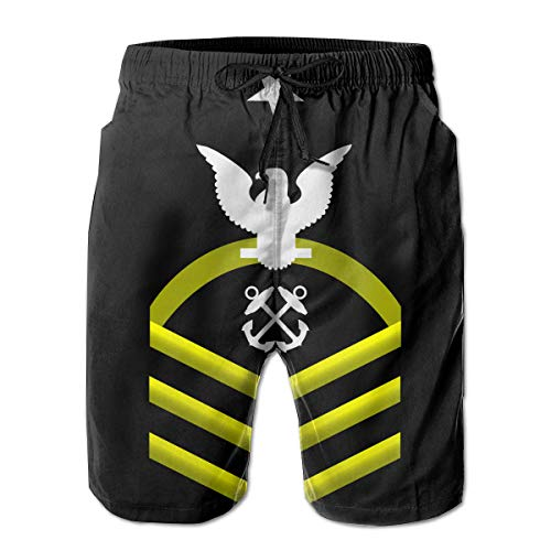 (Hdecrr FFRE Navy Senior Chief Petty Officer Shoulder Patch Rate Insignia Gold Men's Summer Casual Swimming Shorts Quick Dry Beach Shorts with Pockets)