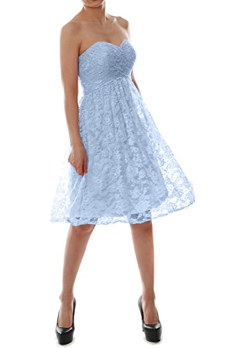 MACloth Strapless Short Lace Bridesmaid Dress Evening Cocktail Party Gown Cielo azul