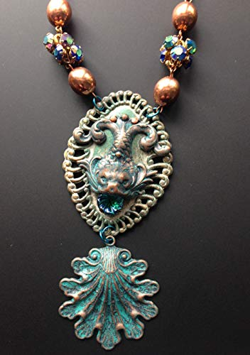 - Fantasy Victorian Dolphin Scallop Shell Bold Statement Necklace Copper Green patina Jewelry