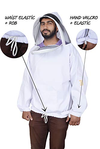 Massive Bee Fencing Style Professional 100% Cotton Zipper Fencing Veil Medium/Large White Beekeeping/Bee Keeping Suit, Jacket (Large)]()