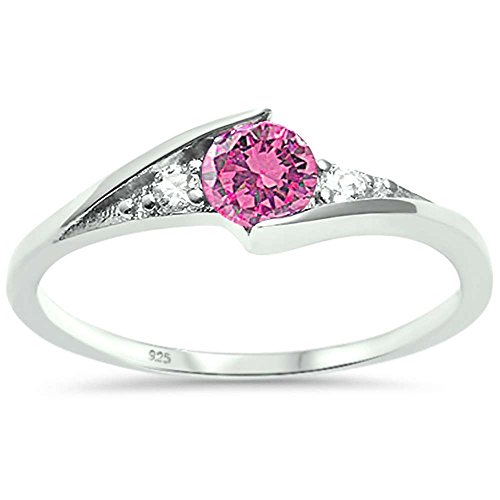 Sterling Silver New Round Simulated Pink Cubic Zirconia Solitaire Fashion Ring Sizes 7