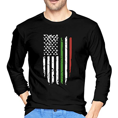 PIOL American Italian Flag Men's Long Sleeve T-Shirt Crew Neck Shirts Casual Tops Tee Black