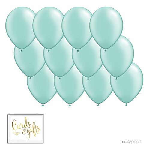 Andaz Press 11-inch Balloon Party Kit with Gold Cards & Gifts Sign, Mint Green, -