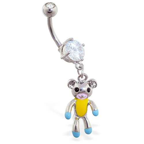 MsPiercing Navel Ring With Dangling Teddy Bear