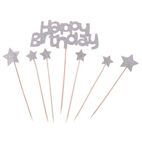 Dovewill Pack of 7/Set Glitter Birthday Cake Topper