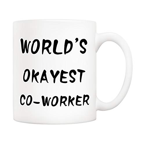 5Aup Christmas Gifts Funny Coworker Coffee Mug, World's Okayest Co-worker Novelty Ceramic Cups 11Oz, Unique Office Gifts for Coworker Friend Colleague (Best Gifts For Office Colleagues)