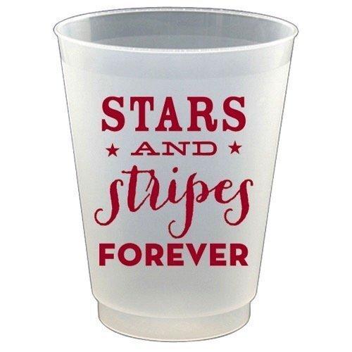 Slant Plastic Flex Cups 16oz 8pk F132169 Stars and Stripes (Slant Star)