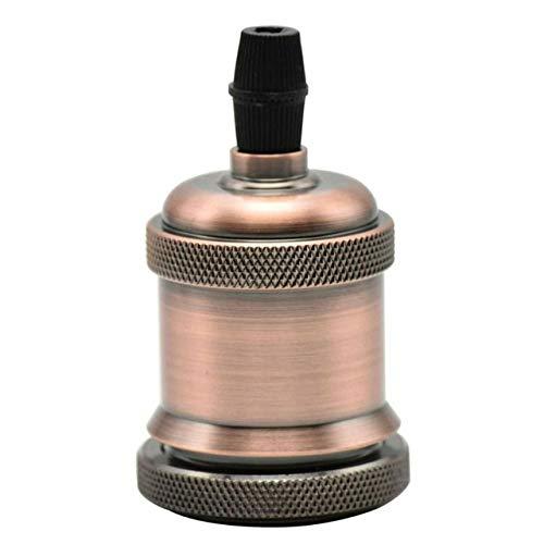 Kamas 1PC E27 Antique Lamp Holder Loft Screw Edison Bulb Socket Vintage Ceramic Core Pendant Light Base UL Certified Fitting 250V - (Color: Red Bronzed, Base Type: E27) ()