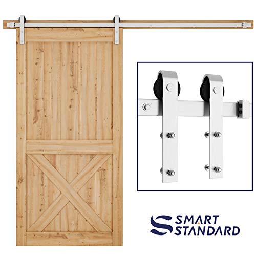 SMARTSTANDARD 8FT Heavy Duty Sliding Barn Door Hardware Kit, Single Rail, Stainless Steel, Super Smoothly and Quietly, Simple and Easy to Install, Silver
