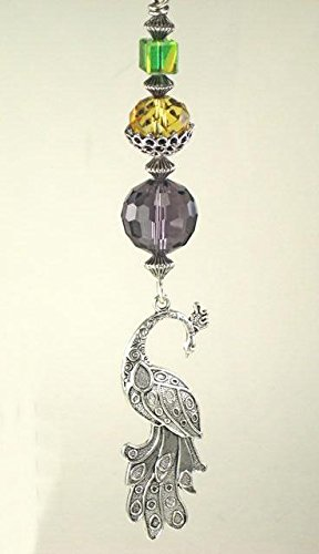 Pretty Antiqued Silvery Peacock with Amber, Green & Purple Glass Ceiling Fan Pull