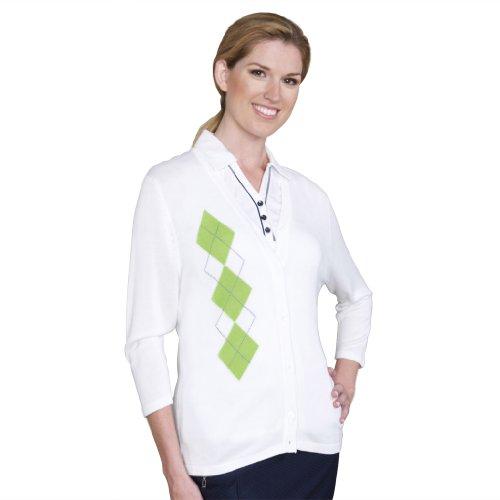 Monterey Club Ladies Asymmetrical Argyle V-Neck 3/4 Sleeve Cardigan #6163 (White/Leprechaun, Small)