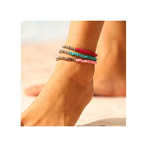 Tgirls Boho Turquoise Anklets Seed Beaded Ankle Bracelet Colorful Foot Chain for Women and Girls 3Pcs