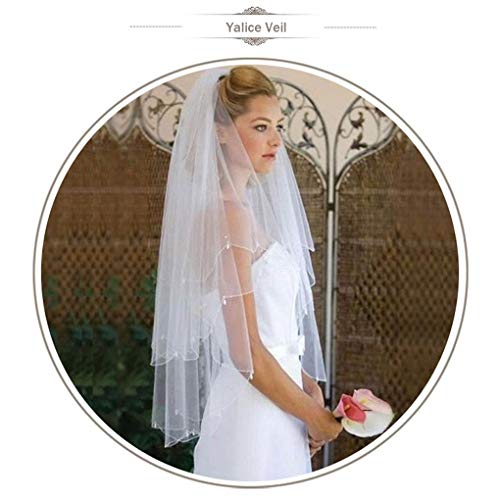 Yalice Women's Bead Edge Bride Wedding Veil 2T Two-tier Waist Length Bridal Veils Soft Tulle Hair Accessories ()