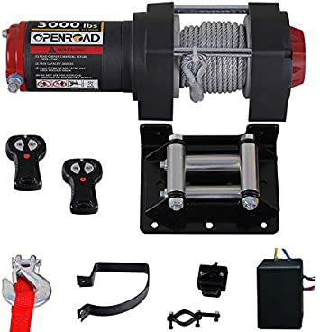 OPENROAD Electric 12V 3000lb//1361kg Single Line Waterproof Winch for UTV ATV Boat with Both Wireless Handheld Remote and Corded Control Recovery Winch