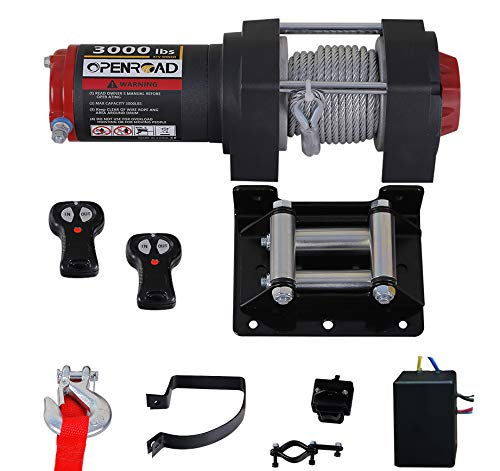 OPENROAD 3000lbs ATV/UTV Winch with 49ft Cable,12V Electric Trailer Boat Winch with Wireless Remote Control and Removeable Control Box, ATV Winch Kit