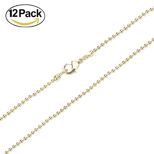 Wholesale 12PCS Gold Plated Solid Brass Bead Ball Chains Name ID Tags Chain Bulk 18-24 Inches (24