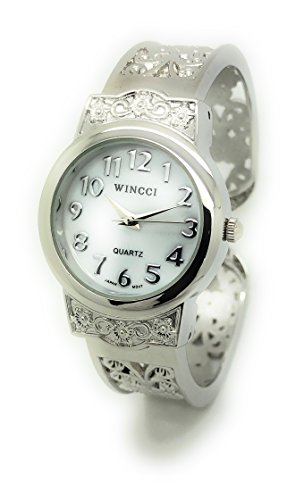 (Ladies Elegant Metal Bangle Cuff Fashion Watch Pearl Dial Wincci (Silver))