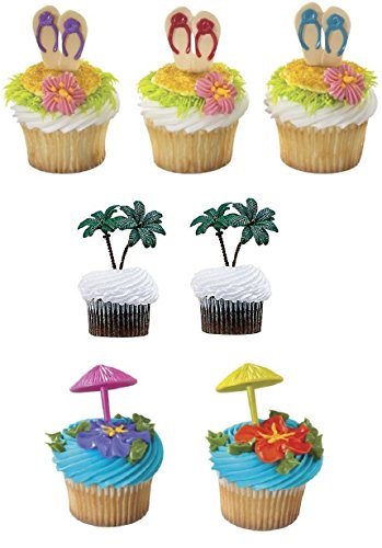 Flip Flop Cupcake - Summer Beach Umbrella Flip Flop and Palm Tree Cupcake Toppers- 24 count