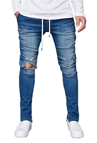 Men's Skinny Destroyed Ripped Jeans Fashion Elastic-Waist Denim Pants