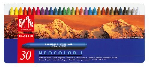 Neocolor I Water-Resistant Wax Pastels, 30 Colors