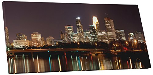 "Pingo World 0726QYGVWSS ""Minneapolis Night Skyline Panoramic"" Gallery Wrapped Canvas Wall Art, 30"" x 16"", Variable"