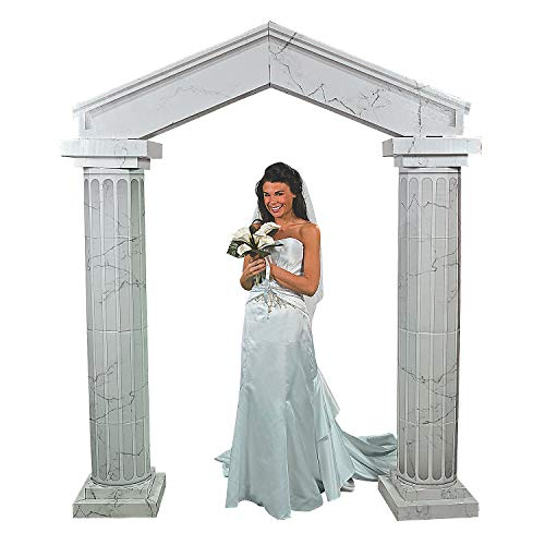 Fun Express Marble-Look Fluted Cardboard Arch Way Kit – Large Party Decor – Wedding, Prom, Formal Dances – 3D Stand Ups – (2) 6ft Columns with Arch Included