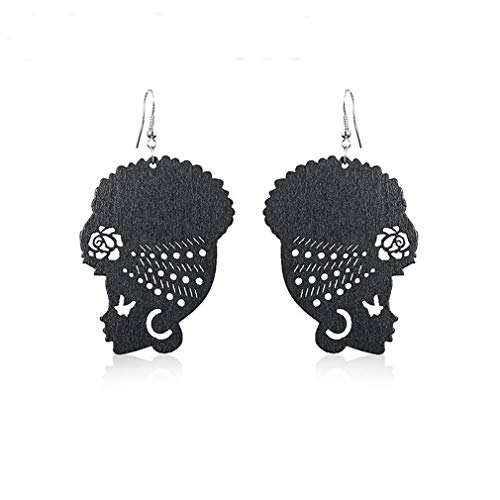 DONGMING Fashion Female Portrait Earrings African Turban Shaped Drop Earrings Creative Hook Dangle Earrings for Women Girl Ear Jewelry Eardrop Gift,Black (Best African Fashion Dresses)