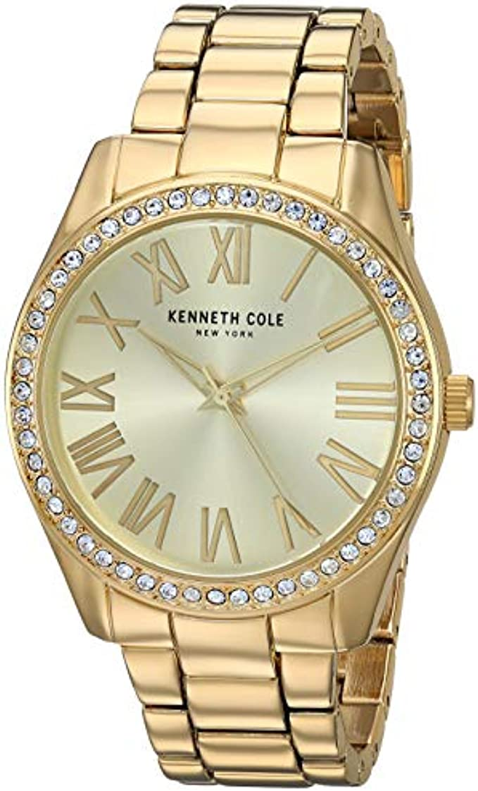 Kenneth Cole New York Women's Classic Stainless Steel Analog-Quartz Watch with Alloy Strap, Gold, 17.9 (Model: KC5066400
