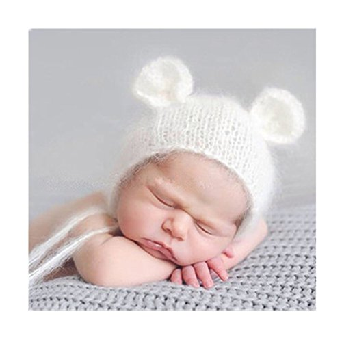 Luxury Fashion Newborn Boy Girl Baby Costume Knitted Photography Props Bear Hat Headdress